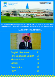 MAY / JUNE 2017 IGCSE RESULT