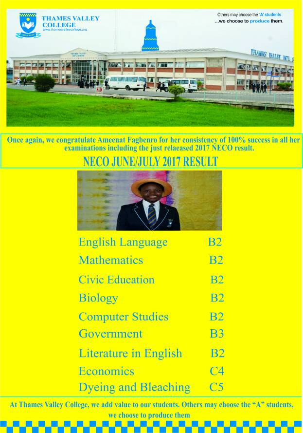 JUNE / JULY 2017 NECO RESULT